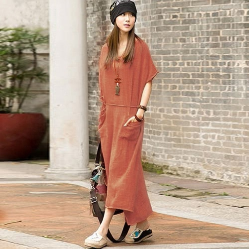 Oversized Summer Women Retro Casual Loose Long Dress Cotton Linen Solid Short Sleeve Ankle Length Dress Plus SizeApparel &amp; Jewelry<br>Oversized Summer Women Retro Casual Loose Long Dress Cotton Linen Solid Short Sleeve Ankle Length Dress Plus Size<br>