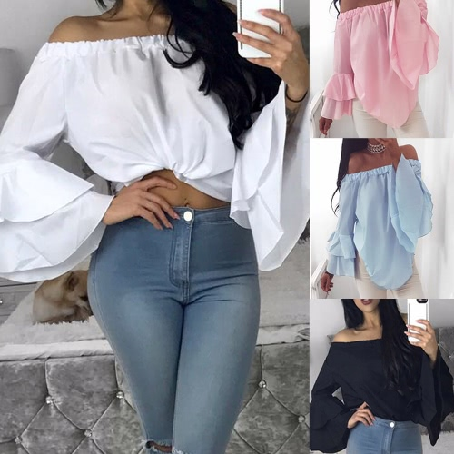 Sexy Women Solid Blouse Off Shoulder Slash Neck Flare Long Sleeves Irregular Hem Elegant TopApparel &amp; Jewelry<br>Sexy Women Solid Blouse Off Shoulder Slash Neck Flare Long Sleeves Irregular Hem Elegant Top<br>