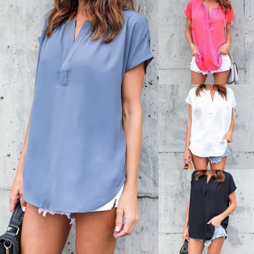 New Summer Women Solid Blouse V-Neck Short Sleeves Irregular Hem Elegant Top ShirtApparel &amp; Jewelry<br>New Summer Women Solid Blouse V-Neck Short Sleeves Irregular Hem Elegant Top Shirt<br>