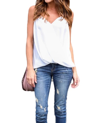 Women Sleeveless Chiffon Blouse Cross V Neck Strap Draped Asymmetrical Solid Surplice Casual Shirt TopsApparel &amp; Jewelry<br>Women Sleeveless Chiffon Blouse Cross V Neck Strap Draped Asymmetrical Solid Surplice Casual Shirt Tops<br>