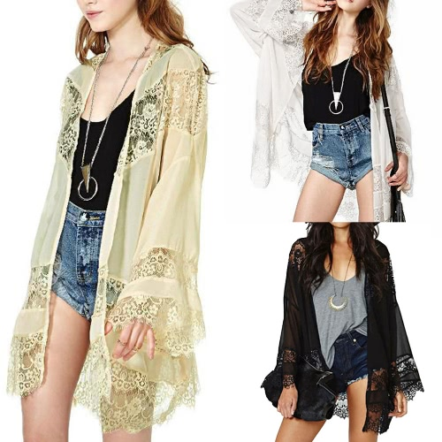 Women Chiffon Kimono Cardigan Floral Lace Boho Loose Outerwear Beachwear Cover Up Blouse Tops Black/Beige/WhiteApparel &amp; Jewelry<br>Women Chiffon Kimono Cardigan Floral Lace Boho Loose Outerwear Beachwear Cover Up Blouse Tops Black/Beige/White<br>