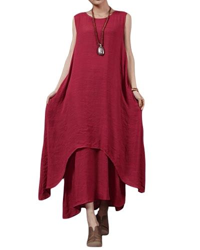 Casual Retro Women Loose Dress Solid Sleeveless O-Neck Pockets Boho Long Maxi Dress Vestidos Plus SizeApparel &amp; Jewelry<br>Casual Retro Women Loose Dress Solid Sleeveless O-Neck Pockets Boho Long Maxi Dress Vestidos Plus Size<br>