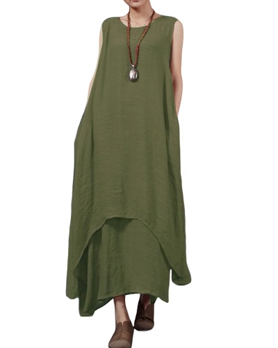 Casual Retro Women Loose Dress Solid Sleeveless O-Neck Pockets Boho Long Maxi Dress Vestidos Plus SizeApparel &amp; Jewelry<br>Casual Retro Women Loose Dress Solid Sleeveless O-Neck Pockets Boho Long Maxi Dress Vestidos Plus Size<br>