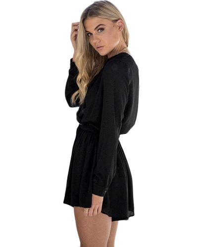 Sexy Women Jumpsuit Solid Deep V-Neck Long Sleeves Elastic Waist Cut Out Casual Romper Black/Beige/BurgundyApparel &amp; Jewelry<br>Sexy Women Jumpsuit Solid Deep V-Neck Long Sleeves Elastic Waist Cut Out Casual Romper Black/Beige/Burgundy<br>