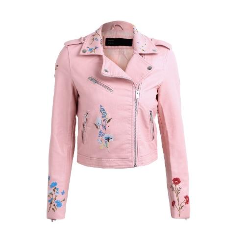 Fashion Women Embroidery Flower PU Faux Leather Jacket CoatApparel &amp; Jewelry<br>Fashion Women Embroidery Flower PU Faux Leather Jacket Coat<br>