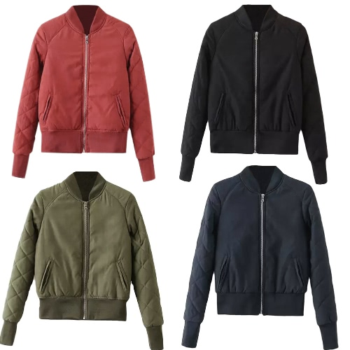 Winter Warm Women Bomber Jacket Zipper Quilted Motorcycle Short Coat Slim Padded Pockets OuterwearApparel &amp; Jewelry<br>Winter Warm Women Bomber Jacket Zipper Quilted Motorcycle Short Coat Slim Padded Pockets Outerwear<br>
