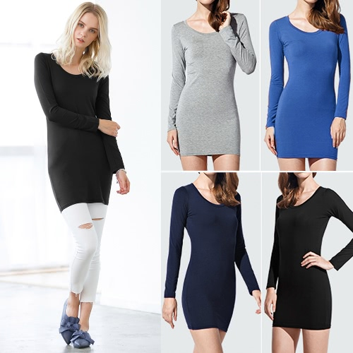 Women Solid Sheath Dress Long Sleeveless O Neck Stretch Casual Bodycon Pencil Mini DressApparel &amp; Jewelry<br>Women Solid Sheath Dress Long Sleeveless O Neck Stretch Casual Bodycon Pencil Mini Dress<br>