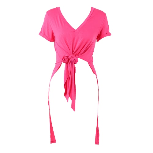 Sexy Women T-shirt Solid Color Deep V Knotted Tie Irregular Short Sleeve Long Casual Tee Party WearApparel &amp; Jewelry<br>Sexy Women T-shirt Solid Color Deep V Knotted Tie Irregular Short Sleeve Long Casual Tee Party Wear<br>