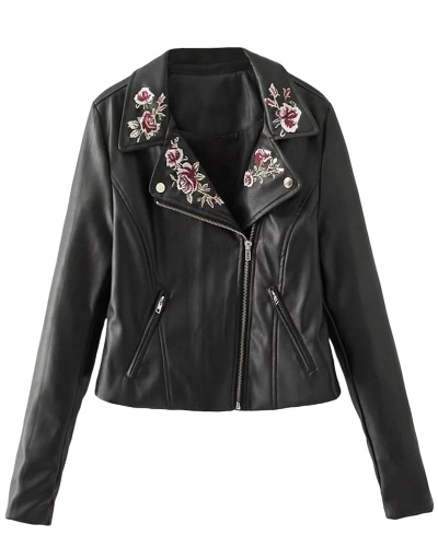 Women PU Leather Jacket Floral Embroidery Zipper Biker JacketApparel &amp; Jewelry<br>Women PU Leather Jacket Floral Embroidery Zipper Biker Jacket<br>