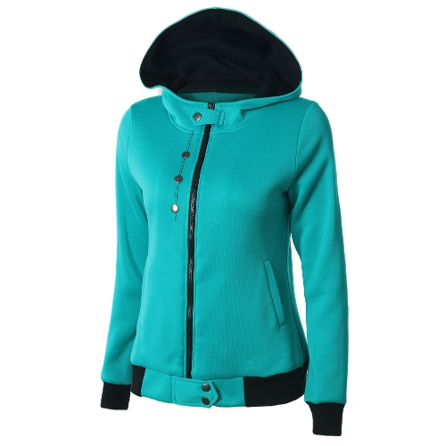 New Women Sweater Hooded Contrast Color Long Sleeve PocketsApparel &amp; Jewelry<br>New Women Sweater Hooded Contrast Color Long Sleeve Pockets<br>