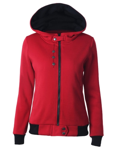 New Women Sweater Hooded Contrast Color Long Sleeve PocketsApparel &amp; Jewelry<br>New Women Sweater Hooded Contrast Color Long Sleeve Pockets<br>