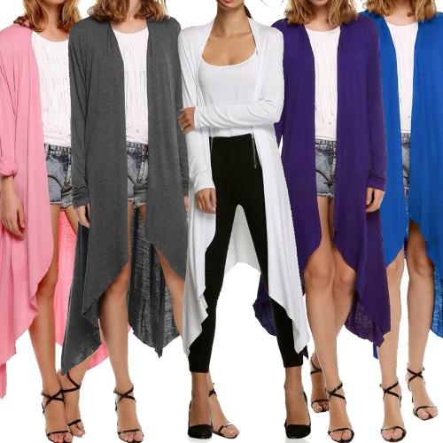 New Women Cardigan Plus Size Coat  Solid Long Sleeve Asymmetry Hem Poncho Shawl Thin CoatApparel &amp; Jewelry<br>New Women Cardigan Plus Size Coat  Solid Long Sleeve Asymmetry Hem Poncho Shawl Thin Coat<br>