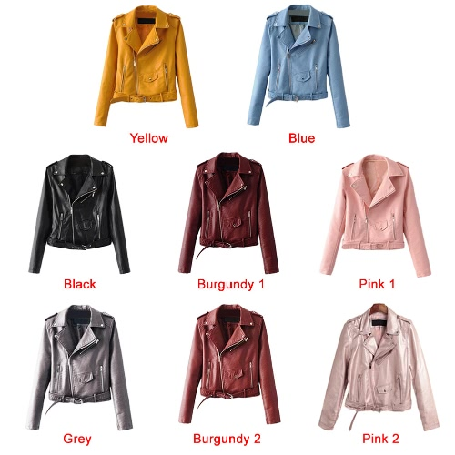 Fashion Women PU Faux Leather Jacket Coat Zipper Belt Long Sleeves Basic Moto Jacket OuterwearApparel &amp; Jewelry<br>Fashion Women PU Faux Leather Jacket Coat Zipper Belt Long Sleeves Basic Moto Jacket Outerwear<br>