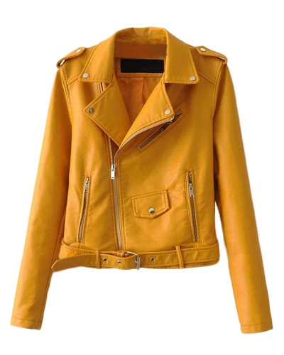Fashion Women PU Faux Leather Jacket Coat Zipper Belt Long Sleeves Basic Moto Jacket OuterwearApparel &amp; Jewelry<br>Fashion Women PU Faux Leather Jacket Coat Zipper Belt Long Sleeves Basic Moto Jacket Outerwear<br>