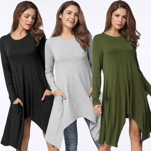 Autumn Women Summer Dress O-Neck Long Sleeves Solid Loose Asymmetrical Flowy Swing Casual T Shirt Dress Black/Grey/Army GreenApparel &amp; Jewelry<br>Autumn Women Summer Dress O-Neck Long Sleeves Solid Loose Asymmetrical Flowy Swing Casual T Shirt Dress Black/Grey/Army Green<br>