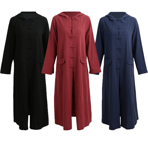 Spring Autumn Women Vintage Dress Hooded Long Sleeve Casual Loose Solid Cotton Dress Burgundy / Dark Blue / BlackApparel &amp; Jewelry<br>Spring Autumn Women Vintage Dress Hooded Long Sleeve Casual Loose Solid Cotton Dress Burgundy / Dark Blue / Black<br>