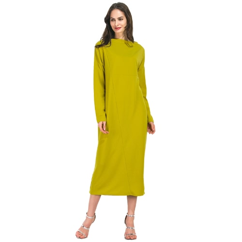 Women Plus Size Dress Solid Color Splicing Slash Neck Long Sleeve Maxi Gown Casual One-Piece YellowApparel &amp; Jewelry<br>Women Plus Size Dress Solid Color Splicing Slash Neck Long Sleeve Maxi Gown Casual One-Piece Yellow<br>