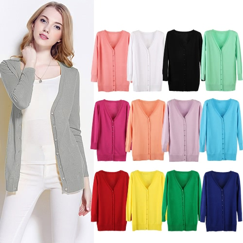New Women Knitted Cardigan V Neck Long Sleeve Button Solid Slim Autumn Outerwear Casual Thin KnitwearApparel &amp; Jewelry<br>New Women Knitted Cardigan V Neck Long Sleeve Button Solid Slim Autumn Outerwear Casual Thin Knitwear<br>