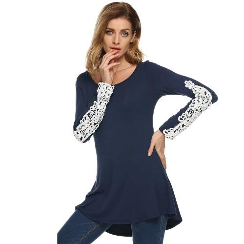 Women Long Sleeveless T-Shirt Crochet Lace Flared Hem Flowy Swing Tees Casual TopsApparel &amp; Jewelry<br>Women Long Sleeveless T-Shirt Crochet Lace Flared Hem Flowy Swing Tees Casual Tops<br>