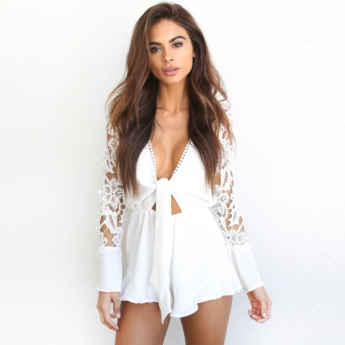 Sexy Women Jumpsuit Lace Hollow Out Deep V-Neck Long Sleeves Ruffle Elastic Waist Casual RomperApparel &amp; Jewelry<br>Sexy Women Jumpsuit Lace Hollow Out Deep V-Neck Long Sleeves Ruffle Elastic Waist Casual Romper<br>