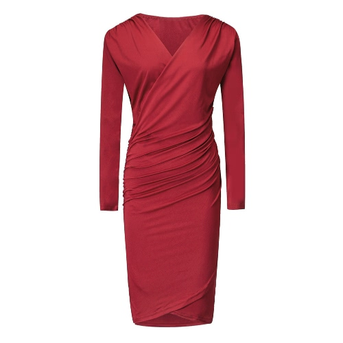Sexy Women Bodycon Dress Deep V Neck Long Sleeve Ruched Solid Pencil Nightclub Party DressApparel &amp; Jewelry<br>Sexy Women Bodycon Dress Deep V Neck Long Sleeve Ruched Solid Pencil Nightclub Party Dress<br>