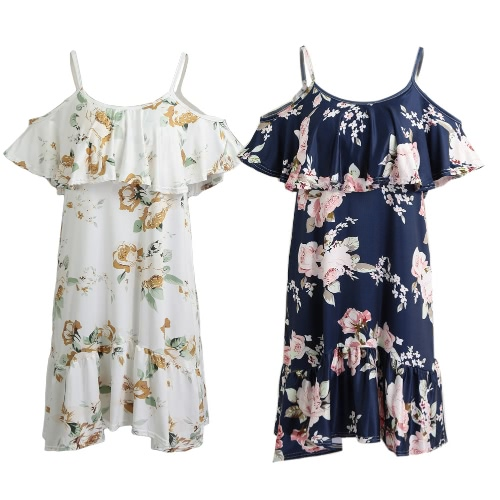 Off Shoulder Women Cold Shoulder Ruffles Print Summer Dress Strap Beach Boho Party Sexy Dress White/Dark BlueApparel &amp; Jewelry<br>Off Shoulder Women Cold Shoulder Ruffles Print Summer Dress Strap Beach Boho Party Sexy Dress White/Dark Blue<br>