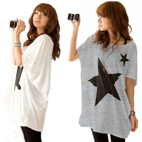 Fashion Women Long T-Shirt Stars Print Round Neck Short Sleeves Loose Tee Tops White/GreyApparel &amp; Jewelry<br>Fashion Women Long T-Shirt Stars Print Round Neck Short Sleeves Loose Tee Tops White/Grey<br>