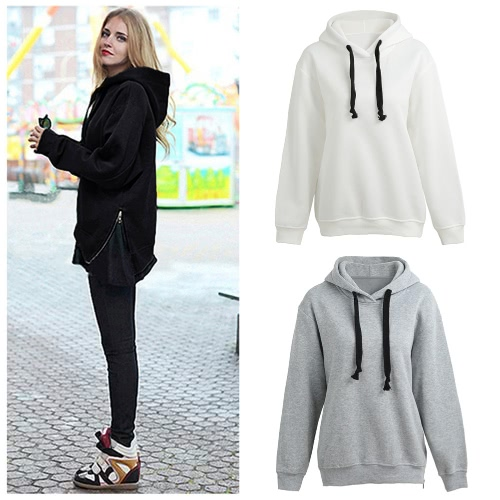 Fashion Women Hoodies Side Zipper Hooded Neck Drawstring Long Sleeves Pullover SweatshirtApparel &amp; Jewelry<br>Fashion Women Hoodies Side Zipper Hooded Neck Drawstring Long Sleeves Pullover Sweatshirt<br>
