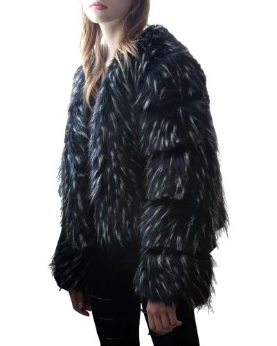 Women Winter Faux Fur Coat Long Sleeve Fluffy Outerwear Ladies Short Jacket Hairy Warm Overcoat Black/BlueApparel &amp; Jewelry<br>Women Winter Faux Fur Coat Long Sleeve Fluffy Outerwear Ladies Short Jacket Hairy Warm Overcoat Black/Blue<br>
