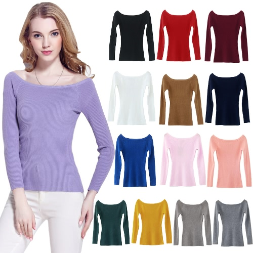 Autumn Winter Basic Women Sweater Slash Neck Solid Knitted Slim Pullover Thin Long Sleeves Sweater TopApparel &amp; Jewelry<br>Autumn Winter Basic Women Sweater Slash Neck Solid Knitted Slim Pullover Thin Long Sleeves Sweater Top<br>