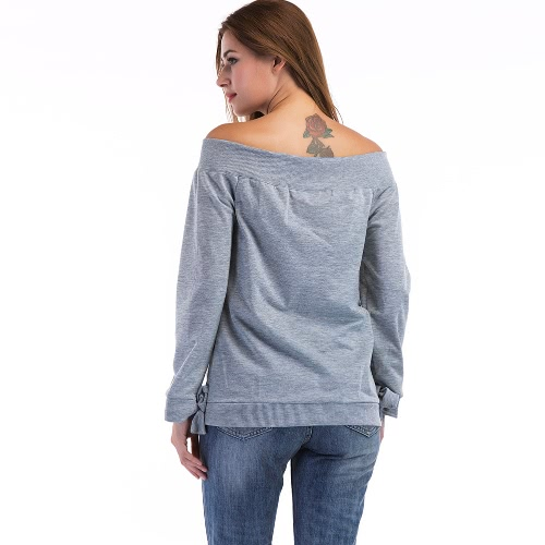 New Sexy Women Blouse Slash Neck Off Shoulder Solid Long Sleeves Trim Cuffs Casual Top GreyApparel &amp; Jewelry<br>New Sexy Women Blouse Slash Neck Off Shoulder Solid Long Sleeves Trim Cuffs Casual Top Grey<br>