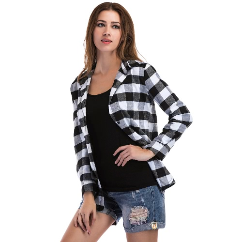 New Women Plaid Blouse Shirt Button Long Sleeve Irregular Casual Check Blouse Tops Black/RedApparel &amp; Jewelry<br>New Women Plaid Blouse Shirt Button Long Sleeve Irregular Casual Check Blouse Tops Black/Red<br>