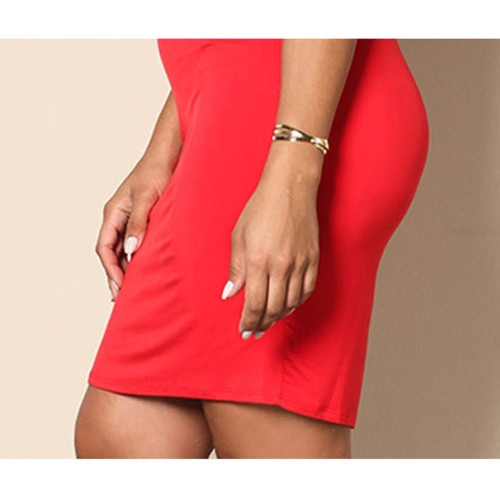 Sexy Women Plus Size Mini Dress Cold Shoulder Ruffle Short Sleeve Cross V Neck Solid Slim Large Size Dress RedApparel &amp; Jewelry<br>Sexy Women Plus Size Mini Dress Cold Shoulder Ruffle Short Sleeve Cross V Neck Solid Slim Large Size Dress Red<br>