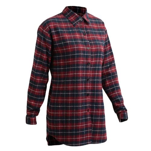 New Women Blouse Plaid Button Irregular Hem Long Sleeves Loose Casual Shirt Dress Top Red/Green/GreyApparel &amp; Jewelry<br>New Women Blouse Plaid Button Irregular Hem Long Sleeves Loose Casual Shirt Dress Top Red/Green/Grey<br>