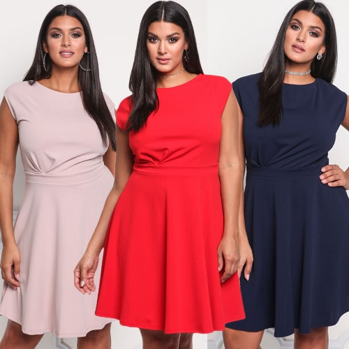 Women Solid Dress Round Neck Sleeveless Party Big Large Size Casual Loose Multiple Dress Red/Pink/Dark BlueApparel &amp; Jewelry<br>Women Solid Dress Round Neck Sleeveless Party Big Large Size Casual Loose Multiple Dress Red/Pink/Dark Blue<br>