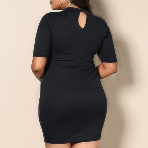 Sexy Women Plus Size Mini Dress Cross Bandage Short Sleeve Solid Slim Bodycon Large Size Knitted Dress BlackApparel &amp; Jewelry<br>Sexy Women Plus Size Mini Dress Cross Bandage Short Sleeve Solid Slim Bodycon Large Size Knitted Dress Black<br>
