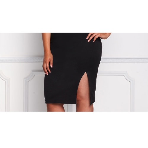 New Plus Size Women Bodycon Dress Spaghetti Strap Sexy Backless Mesh Panel Slit Hem Club Slim Dress Black/WhiteApparel &amp; Jewelry<br>New Plus Size Women Bodycon Dress Spaghetti Strap Sexy Backless Mesh Panel Slit Hem Club Slim Dress Black/White<br>