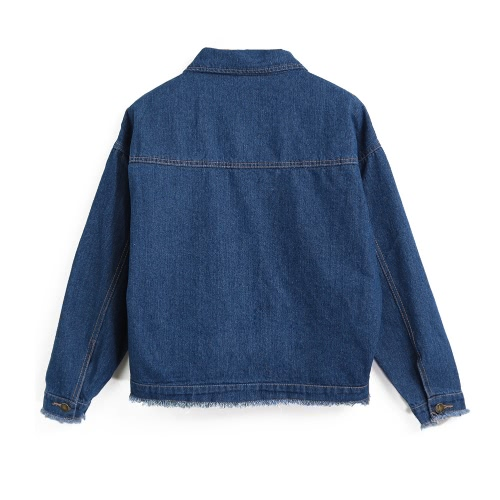 Women Denim Jacket Flap Pockets Buttons Frayed Raw Boyfriend Oversized Casual Outwear Black/BlueApparel &amp; Jewelry<br>Women Denim Jacket Flap Pockets Buttons Frayed Raw Boyfriend Oversized Casual Outwear Black/Blue<br>