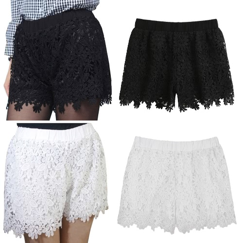 New Fashion Women Lace Shorts Floral Crochet Lace Elastic High Waist Casual Solid Hot Pants White/BlackApparel &amp; Jewelry<br>New Fashion Women Lace Shorts Floral Crochet Lace Elastic High Waist Casual Solid Hot Pants White/Black<br>