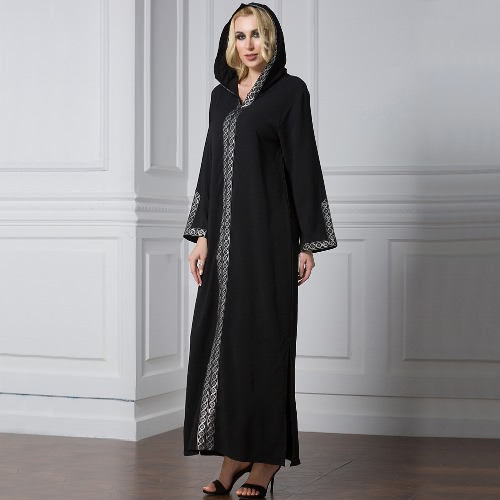 Fashion Women Middle East Hooded Dress Long Sleeve Side Slit Muslim Robe Islamic Arabia Abayas BlackApparel &amp; Jewelry<br>Fashion Women Middle East Hooded Dress Long Sleeve Side Slit Muslim Robe Islamic Arabia Abayas Black<br>