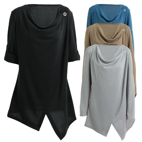 Women Knitwear Solid Color Asymmetric Draped Irregular Long Roll Up Sleeve Casual Tops SweatershitApparel &amp; Jewelry<br>Women Knitwear Solid Color Asymmetric Draped Irregular Long Roll Up Sleeve Casual Tops Sweatershit<br>