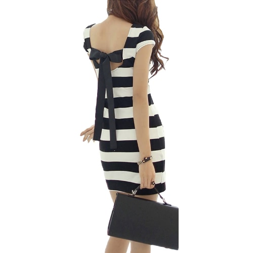 Women Dress Striped Print Cut Out Tie Bow Backless Short Sleeve Mini Bandage Sexy Casual One-Piece BlackApparel &amp; Jewelry<br>Women Dress Striped Print Cut Out Tie Bow Backless Short Sleeve Mini Bandage Sexy Casual One-Piece Black<br>