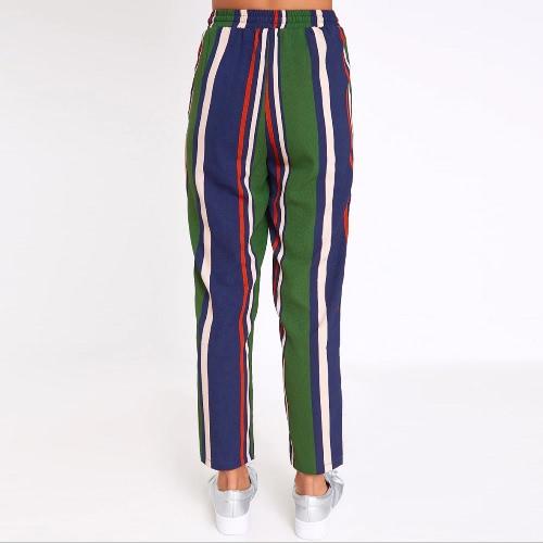 New Fashion Women Satin Striped Pants Casual Silky Trousers Elastic Waist Pantalon Drawstring Harem Pants GreenApparel &amp; Jewelry<br>New Fashion Women Satin Striped Pants Casual Silky Trousers Elastic Waist Pantalon Drawstring Harem Pants Green<br>