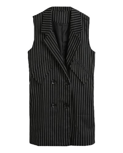 New Women Winter Striped Vest Waistcoat Sleeveless Buttons Split Elegant Long Jacket Outwear Top Black/WhiteApparel &amp; Jewelry<br>New Women Winter Striped Vest Waistcoat Sleeveless Buttons Split Elegant Long Jacket Outwear Top Black/White<br>