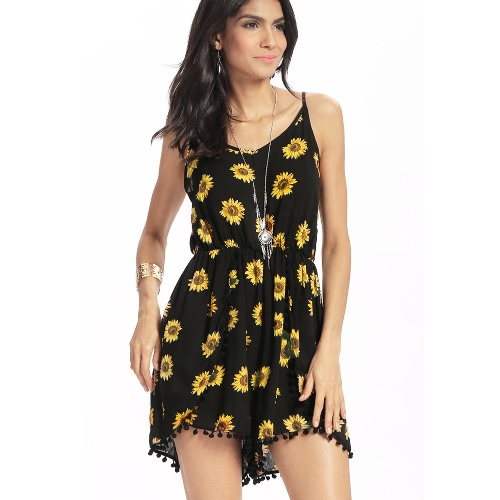 Sexy Women Strappy Jumpsuit Sunflower Print Backless Deep V-Neck Sleeveless Elastic Waist Casual Romper BlackApparel &amp; Jewelry<br>Sexy Women Strappy Jumpsuit Sunflower Print Backless Deep V-Neck Sleeveless Elastic Waist Casual Romper Black<br>