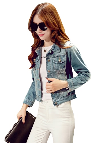 Fashion Women Denim Jacket Pockets Long Sleeve Buttons Frayed Casual Slim Short Outerwear Light Blue/Dark BlueApparel &amp; Jewelry<br>Fashion Women Denim Jacket Pockets Long Sleeve Buttons Frayed Casual Slim Short Outerwear Light Blue/Dark Blue<br>