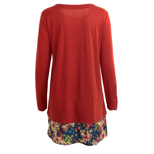 Fashion Women Vintage Dress Round Neck Pocket Floral Hem Long Sleeves Casual Loose Mini DressApparel &amp; Jewelry<br>Fashion Women Vintage Dress Round Neck Pocket Floral Hem Long Sleeves Casual Loose Mini Dress<br>