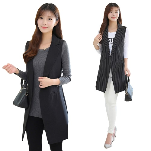 Fashion Women Sleeveless Long Vest Jacket Notched Split OL Coat Blazer Slim Waistcoat Outerwear Black1/Black2Apparel &amp; Jewelry<br>Fashion Women Sleeveless Long Vest Jacket Notched Split OL Coat Blazer Slim Waistcoat Outerwear Black1/Black2<br>