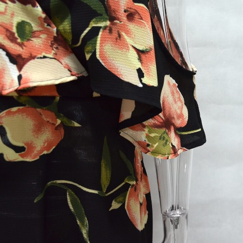 Cold Shoulder Flower Print Summer Dress Irregular Short Dress Women V Neck Beach Boho Sundress BlackApparel &amp; Jewelry<br>Cold Shoulder Flower Print Summer Dress Irregular Short Dress Women V Neck Beach Boho Sundress Black<br>