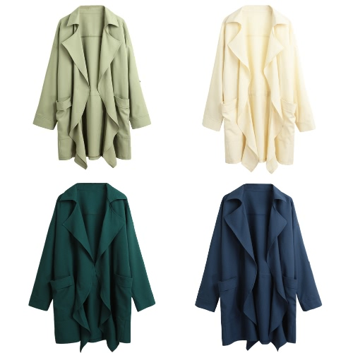 New Women Trench Coat Solid Lapel Pocket Rolled Sleeve Casual Cardigan Loose OuterwearApparel &amp; Jewelry<br>New Women Trench Coat Solid Lapel Pocket Rolled Sleeve Casual Cardigan Loose Outerwear<br>